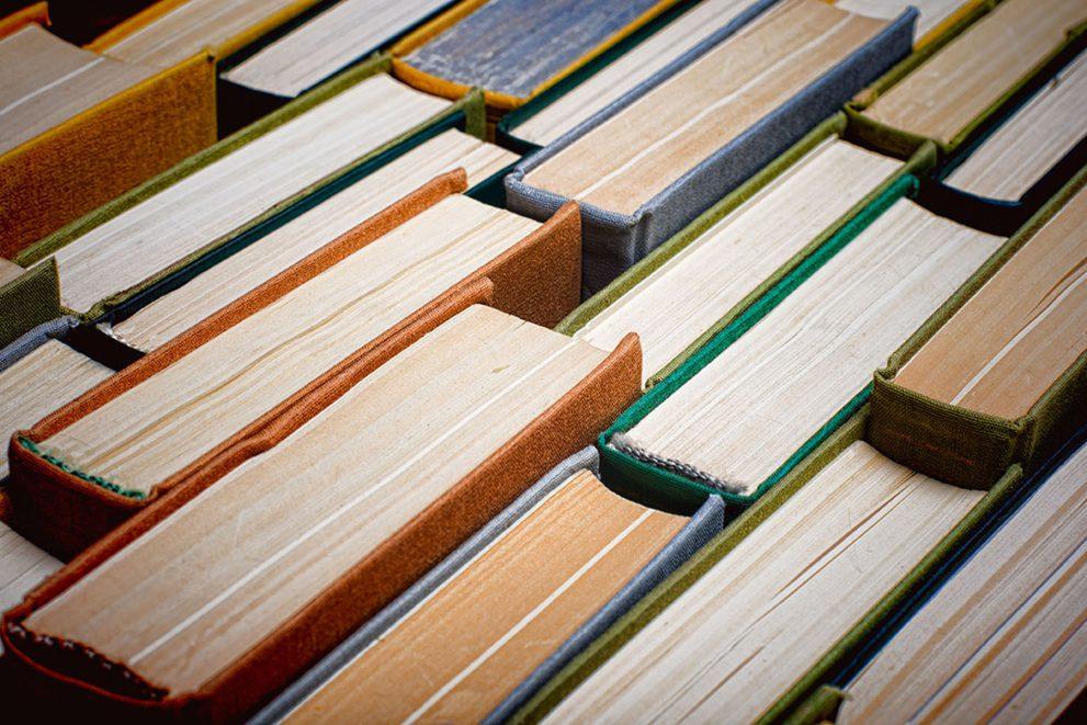 Old shabby hardback books